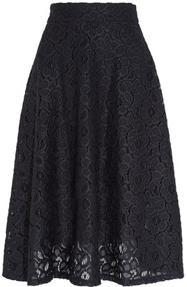 DKNY - Guipure Lace Midi Skirt - Midnight blue $415 thestylecure.com