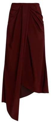 Sies Marjan - Twisted Front Silk Crepe And Satin Skirt - Womens - Burgundy