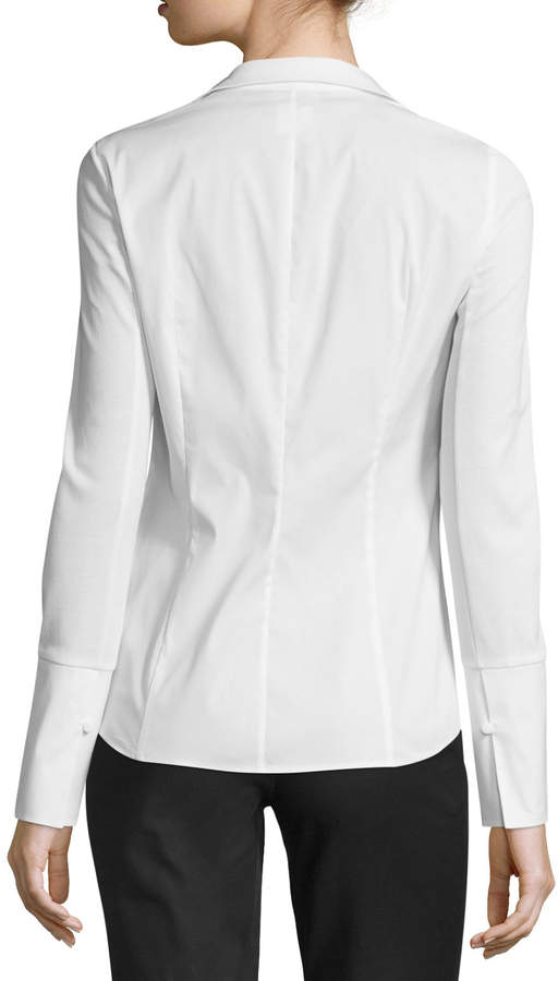 Lafayette 148 New York Aiden Jersey-Combo Long-Sleeve Zip-Front Blouse, Plus Size