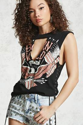 Forever 21 Born Wild Lace-Up Muscle Tee