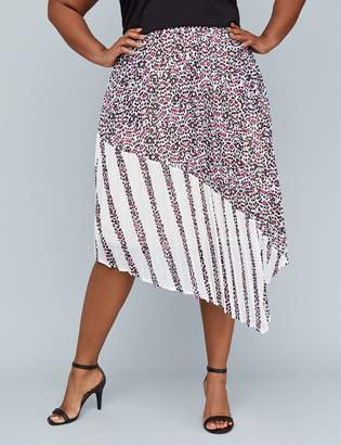 Lane Bryant Girl With Curves Pleated Mixed Print Skirt