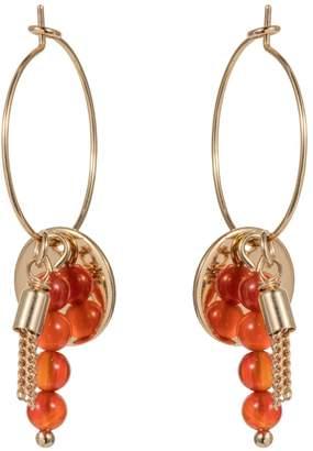 Nadia Minkoff - Hoop Cluster Semi Precious Earring Gold with Orange Agate