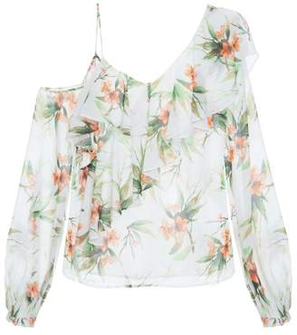 PatBO Wild Flower Cold Shoulder Top
