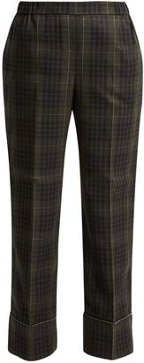 No.21 NO. 21 Crystal-embellished checked cropped trousers