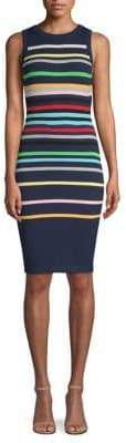 Milly Rainbow Striped Sheath Dress