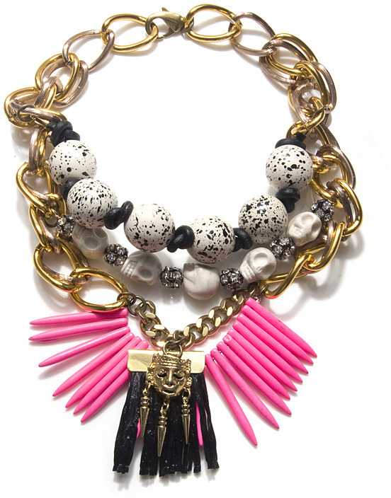 Fenton Neon Tribal Necklace, Brass