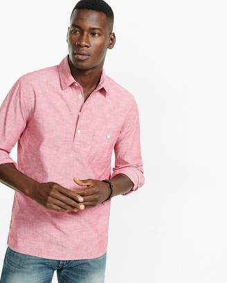 Express Slim Long Sleeve Chambray Henley Shirt
