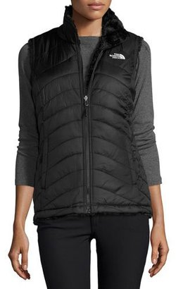 The North Face Mossbud Swirl Fleece & Taffeta Reversible Vest, Black $99 thestylecure.com