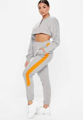Missguided Petite Gray Oversized Zip Front Cropped Sweatshirt