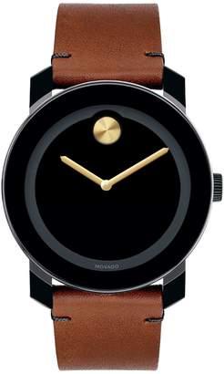 Movado Bold Bold Analog Leather Strap Watch