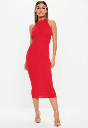 Missguided Red High Neck Bandage Midi Dress, Red