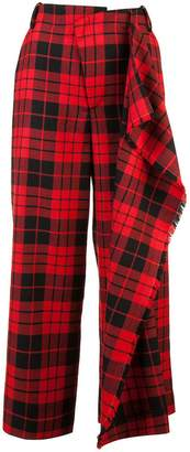 Monse checked wide leg trousers