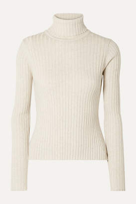 Off-White ANNA QUAN - Heather Ribbed Cotton Turtleneck Top