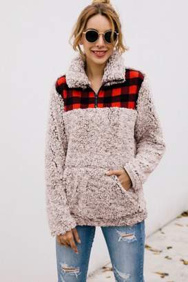 1 Mad Fit Plaid Puffy Pullover