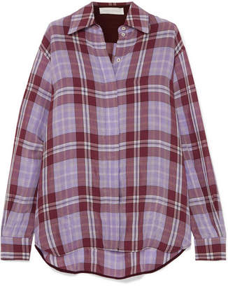 Victoria Beckham Oversized Checked Crinkled-taffeta Shirt - Lilac