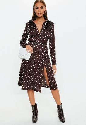 Missguided Brown Polka Dot Tie Belt Midi Shirt Dress, Brown