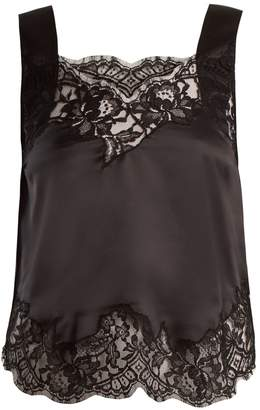 Givenchy Lace-trimmed silk-satin cami top
