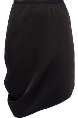 Halston Asymmetric Draped Sateen Mini Skirt