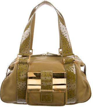 MICHAEL Michael KorsMichael Kors Patent Ostrich-Trimmed Leather Shoulder Bag