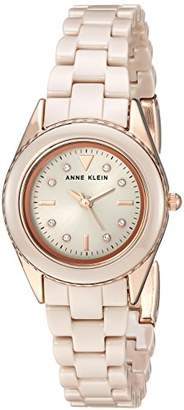 Anne Klein Women's AK/3164TNRG Swarovski Crystal Accented Rose Gold-Tone and Tan Ceramic Bracelet Watch