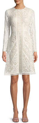 Tadashi Shoji Crotchet Lace Long-Sleeve Dress