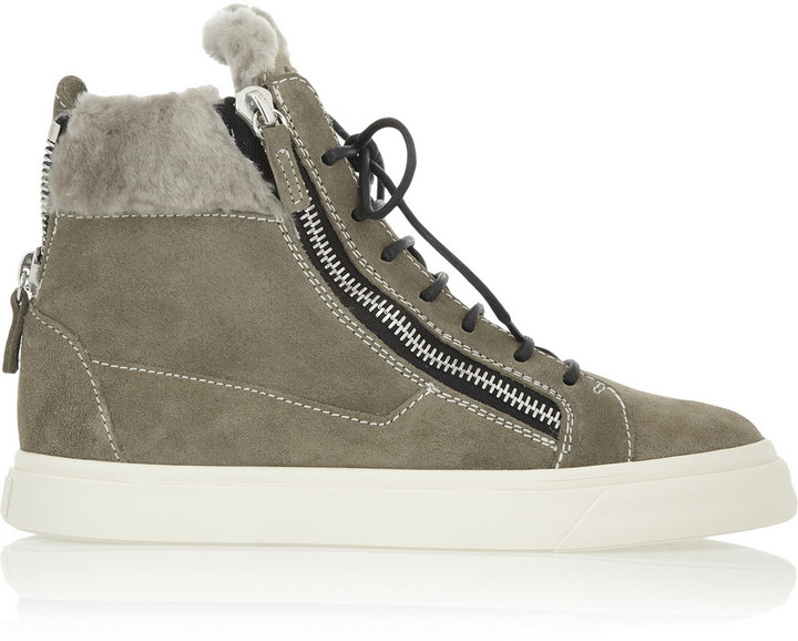 Giuseppe Zanotti London Shearling-Lined Suede High-Top Sneakers
