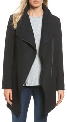 Women's Halogen Asymmetrical Zip Boiled Wool Blend Coat $199 thestylecure.com