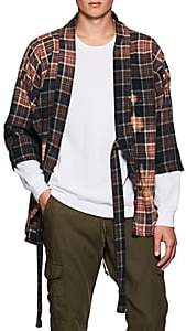 NSF Men's Distressed Plaid Cotton Flannel Jacket