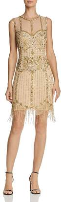 Aidan Mattox Sleeveless Beaded-Fringe Dress