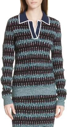 Carven Stripe Merino Wool Blend Polo Sweater