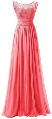 JAEDEN Long Bridesmaid Dress Lace Chiffon Prom Party Gown Pleat