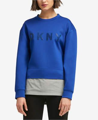 DKNY Layered-Look Rhinestone-Graphic Sweater