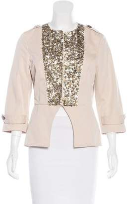 Gryphon Sequin-Embellished Collarless Blazer