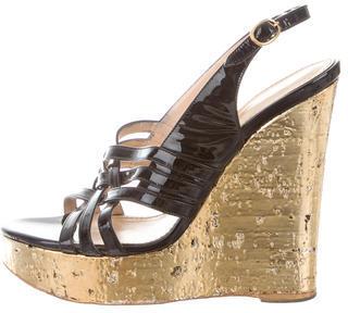 Saint LaurentYves Saint Laurent Patent Leather Wedge Sandals