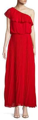 Xscape Evenings One-Shoulder Pleated Chiffon Gown