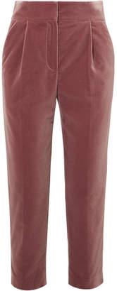 Brunello Cucinelli Cropped Velvet Straight-leg Pants