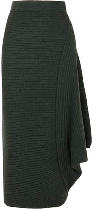 J.W.Anderson Infinity Ribbed Merino Wool Skirt - Emerald
