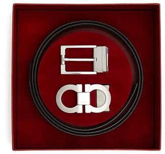 Salvatore Ferragamo Reversible Belt Gift Box in Silver $495 thestylecure.com