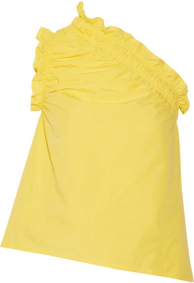 MSGM - One-shoulder Ruffled Cotton-poplin Top - Yellow