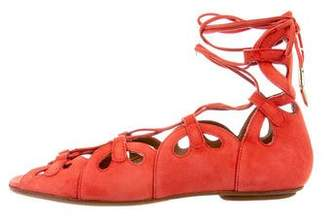 Aquazzura Lace-Up Suede Sandals