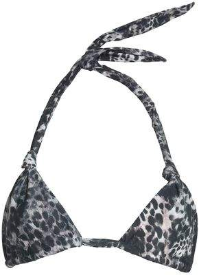 Mikoh Knotted Leopard-Print Triangle Bikini Top