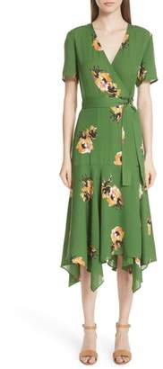 A.L.C. Cora Floral Print Silk Wrap Dress