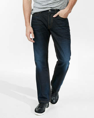 Express Loose Boot Dark Wash Super Thick Stitch 100% Cotton Jeans