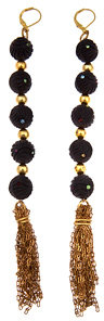 Nicole Romano Carved Black Bead Tassel Earrings
