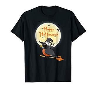 Cute Bird Halloween T-Shirt Cartoon American Robin as Witch