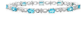 JCPenney FINE JEWELRY Genuine Blue Topaz and Diamond-Accent Sterling Silver Bracelet