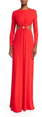 MICHAEL Michael KorsMichael Kors Long-Sleeve Cutout Gown, Scarlet