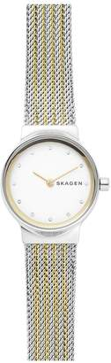 Skagen ladies watch two tone gold IP and stainless steel mesh bracelet, with white dial