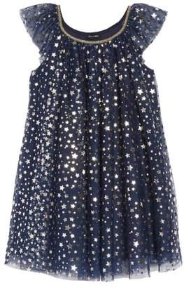 Zunie Foil Star Mesh Trapeze Dress