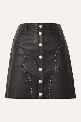 Amiri Embellished Leather Mini Skirt - Black